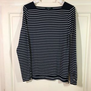 LAUREN Navy Stripe LS Top EUC Button Detail Sz M